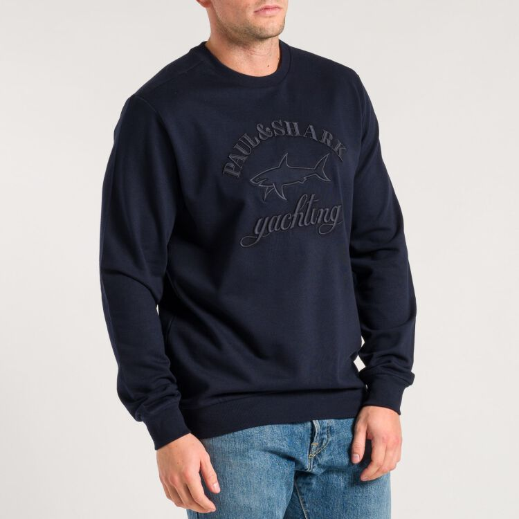 Stitched Shark Logo Sweatshirt - navy blau